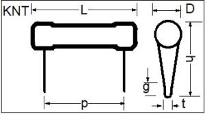 KNT Wire Wound Resistor drawing
